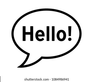 "Cartoon speech bubble or dialogue balloon with the word ""Hello"" greeting line art icon for comic apps and websites"