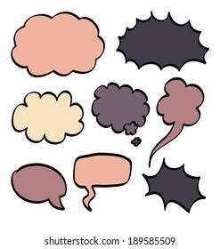 Cartoon speech bubble. Vector illustration on white background.