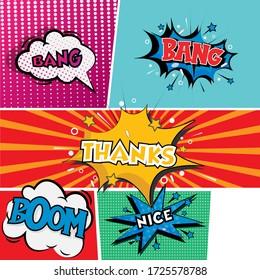"""cartoon comic pop art speech with text  inside box """"bang thank boom  nice"""""""