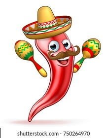 A cartoon spicy red pepper character with moustache wearing Mexican sombrero hat and shaking maracas