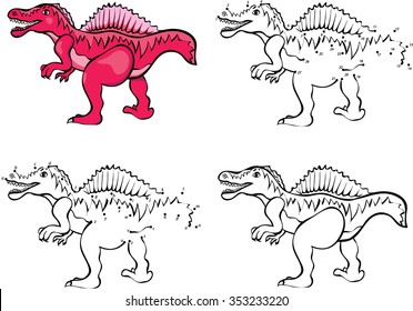 Cartoon Spinosaurus Vector Illustration Coloring And Dot To Educational Game For Kids