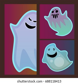 Cartoon spooky ghost character scary cards monster costume evil silhouette creepy phantom spectre apparition vector illustration.