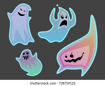 Cartoon spooky ghost character scary holiday monster costume evil silhouette creepy phantom spectre apparition vector illustration.