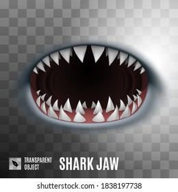 Cartoon Spooky Shark Jaw Isolated on Transparent Background. Horror Background for Halloween Concept