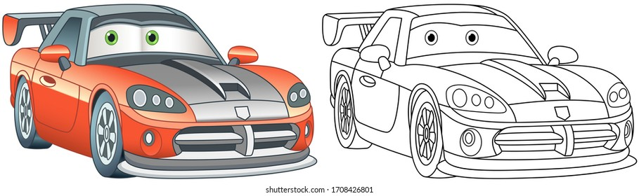 Cartoon sport car. Coloring page and colorful clipart character. Cute design for t shirt print, icon, logo, label, patch or sticker. Vector illustration.