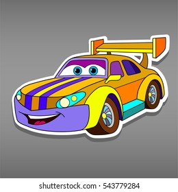 Cartoon sport car sticker for boys. Vector illustration for scrapbook.Transportation Doodle Background. Funny smile auto icon. Comic character for kids on grey background