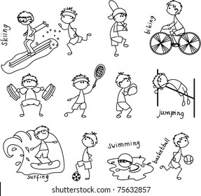 cartoon sport icon, black and white coloring
