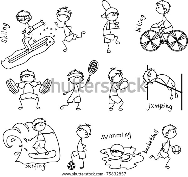 Cartoon Sport Icon Black White Coloring Stock Vector Royalty Free 75632857