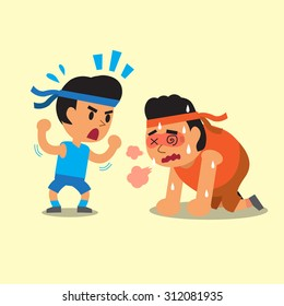 Cartoon a sport man helping fat man to run