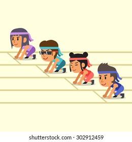 Cartoon sport people ready to run