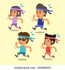 Cartoon sport people running together