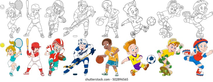 Cartoon sportive children set. Sport collection. Boys and girls playing tennis, baseball, american football (rugby), hockey, basketball, roller skating, skateboarding. Coloring book pages for kids.