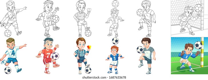 Cartoon sports. Clipart set for kids activity coloring book, t shirt print, icon, logo, label, patch or sticker. Vector illustration.