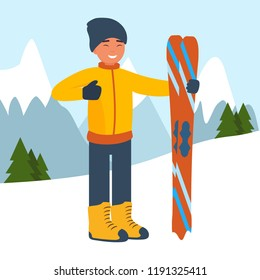 Cartoon sportsman skier against the background of snow-capped mountains. The concept of sport and competition. Flat design style. Vector illustration.