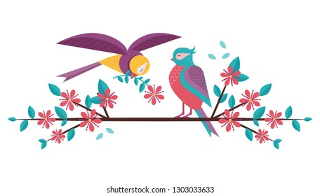 Cartoon spring birds couple in love on blooming tree brunch. Boy bird giving flower to girlfriend sitting on blossom cherry flowers twig. Romantic greeting banner for Valentine's day.