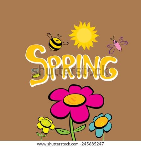 Cartoon Spring Word Flowers Butterfly Vector Stock Vector Royalty