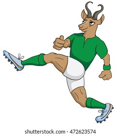 Cartoon springbok rugby player