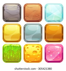 Cartoon square buttons set, app icons with different textures, isolated on white