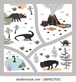 Cartoon square kids road playmat with dinosaur, palm, and volcano mountains. Vector illustration, floor carpet or wall poster. Dino background for the children room.