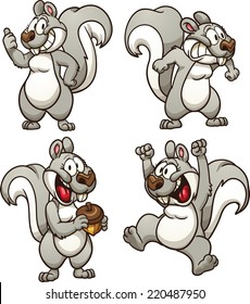 Cartoon squirrel in different poses. Vector clip art illustration with simple gradients. Each pose on a separate layer.