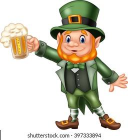 Cartoon St Patrick's Day, Leprechaun with mug beer