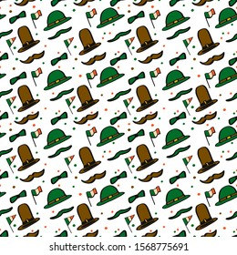 Cartoon St Patrick's Day seamless pattern isolated on white background with hats, mustache, ireland flag, male butterfly.Vector stock illustration.Beautiful background for man.Design print on wallpaper.
