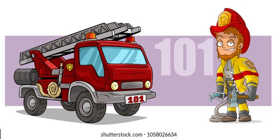Cartoon standing redhead smiling firefighter character with axe and big red emergency rescue fire truck with metal ladder and water hosepipe. On violet background. Vector icon.