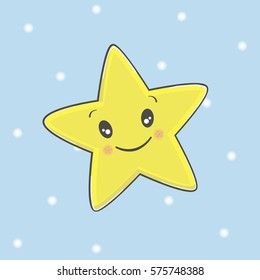 Cartoon Star Character.Smile Face of Cute Star Illustration.