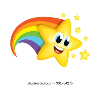 Cartoon Star With Rainbow Tail Character Kids Fun Education Party Reaching Success