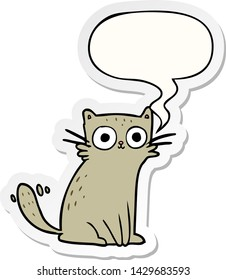 cartoon staring cat with speech bubble sticker