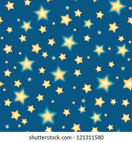 Cartoon stars against blue background. Seamless pattern