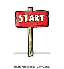 cartoon start sign;