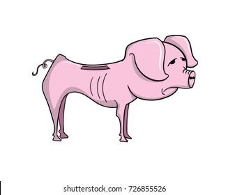 Cartoon starving piggy bank
