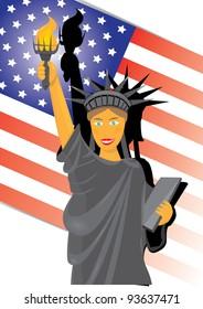 cartoon statue of liberty. vector illustration.