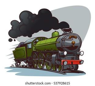 Cartoon Steam Locomotive. Retro train. Color sketch