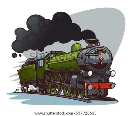 cartoon steam locomotive retro train color のベクター画像素材