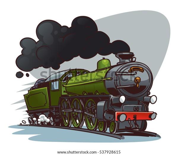 Cartoon Steam Locomotive Retro Train Color Stock Vector