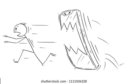 Cartoon stick drawing conceptual illustration of man or businessman chased by his own mobile phone. Concept of unhealthy communication addiction.