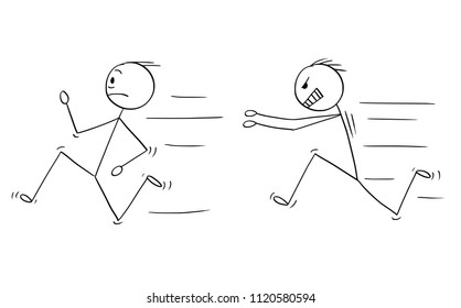 Cartoon stick drawing conceptual illustration of angry violent man chasing another man.