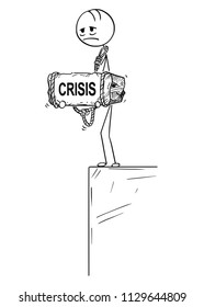 Cartoon stick drawing conceptual illustration of sad and depressed man or businessman standing on edge of precipice or chasm and holding big stone with crisis text tied to his neck.