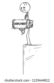 Cartoon stick drawing conceptual illustration of sad and depressed man or businessman standing on edge of precipice or chasm and holding big stone with unemployment text tied to his neck. Concept of