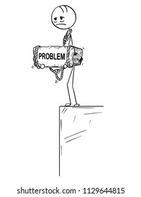 Cartoon stick drawing conceptual illustration of sad and depressed man or businessman standing on edge of precipice or chasm and holding big stone with problem text tied to his neck.