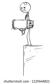 Cartoon stick drawing conceptual illustration of sad and depressed man or businessman standing on edge of precipice or chasm and holding big stone tied to his neck.