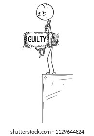 Cartoon stick drawing conceptual illustration of sad and depressed man or businessman who feels guilt by something standing on edge of precipice or chasm and holding big stone with guilty text tied to