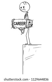 Cartoon stick drawing conceptual illustration of sad and depressed man or businessman standing on edge of precipice or chasm and holding big stone with career text tied to his neck. Concept of crisis