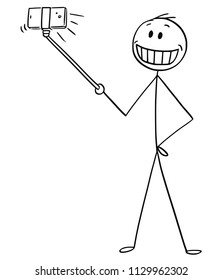 Cartoon stick drawing conceptual illustration of man with big artificial smile taking selfie with selfie stick.