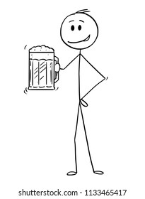 Cartoon stick drawing conceptual illustration of man holding half-litre or half-liter or pint or mug of beer.