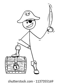 Cartoon stick drawing conceptual illustration of pirate with eye patch, sabre and treasure chest.