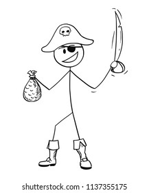 Cartoon stick drawing conceptual illustration of pirate with eye patch, sabre and bag of gold.