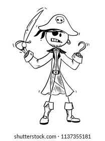 Cartoon stick drawing conceptual illustration of pirate with eye patch, sabre and hook.